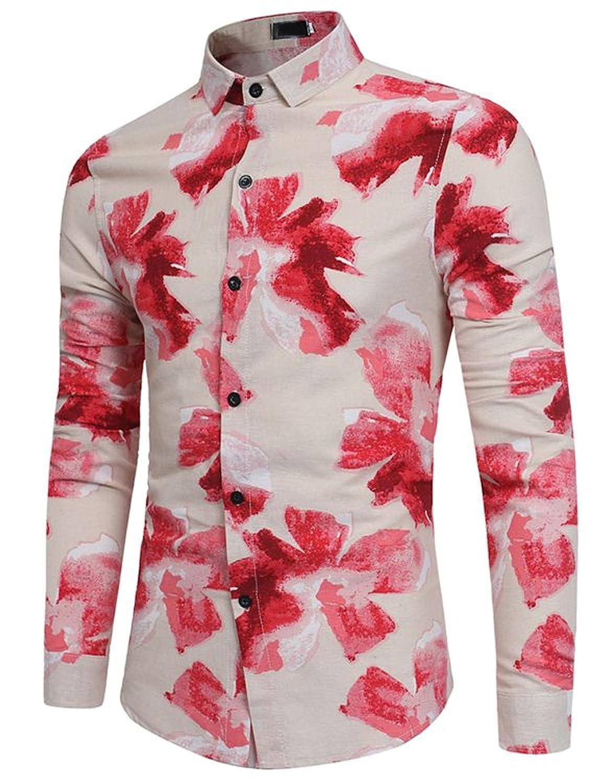 6ffde5b41375a Glestore Chemise Casual Homme Hawaïenne Manche Longue Imprimé Floral Slim  Fit