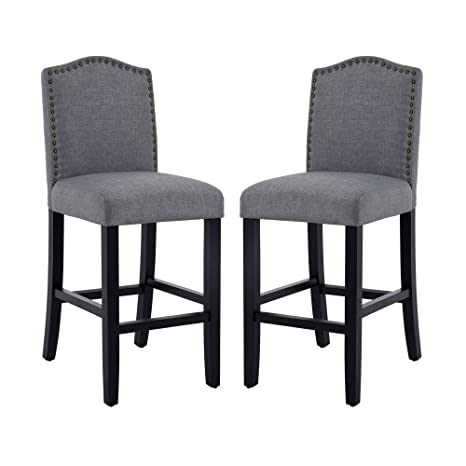 Enjoyable Dagonhil 24 Inches Counter Height Bar Chairs With Bronze Nail Gray Set Of 2 Caraccident5 Cool Chair Designs And Ideas Caraccident5Info