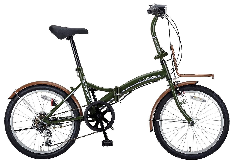 キャプテンスタッグ(CAPTAIN STAG) エクシリア 20インチ 折りたたみ自転車 FDB206 [ シマノ6段変速 / LEDバッテリーライト / 前後泥よけ / BAA ]標準装備 B00I8HXS6Aオリーブ