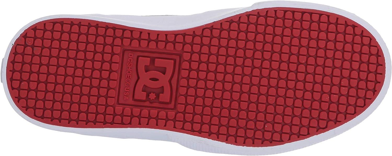 Grey//Grey//Red 4 Big Kid DC Boys Kalis Vulc Skate Shoe