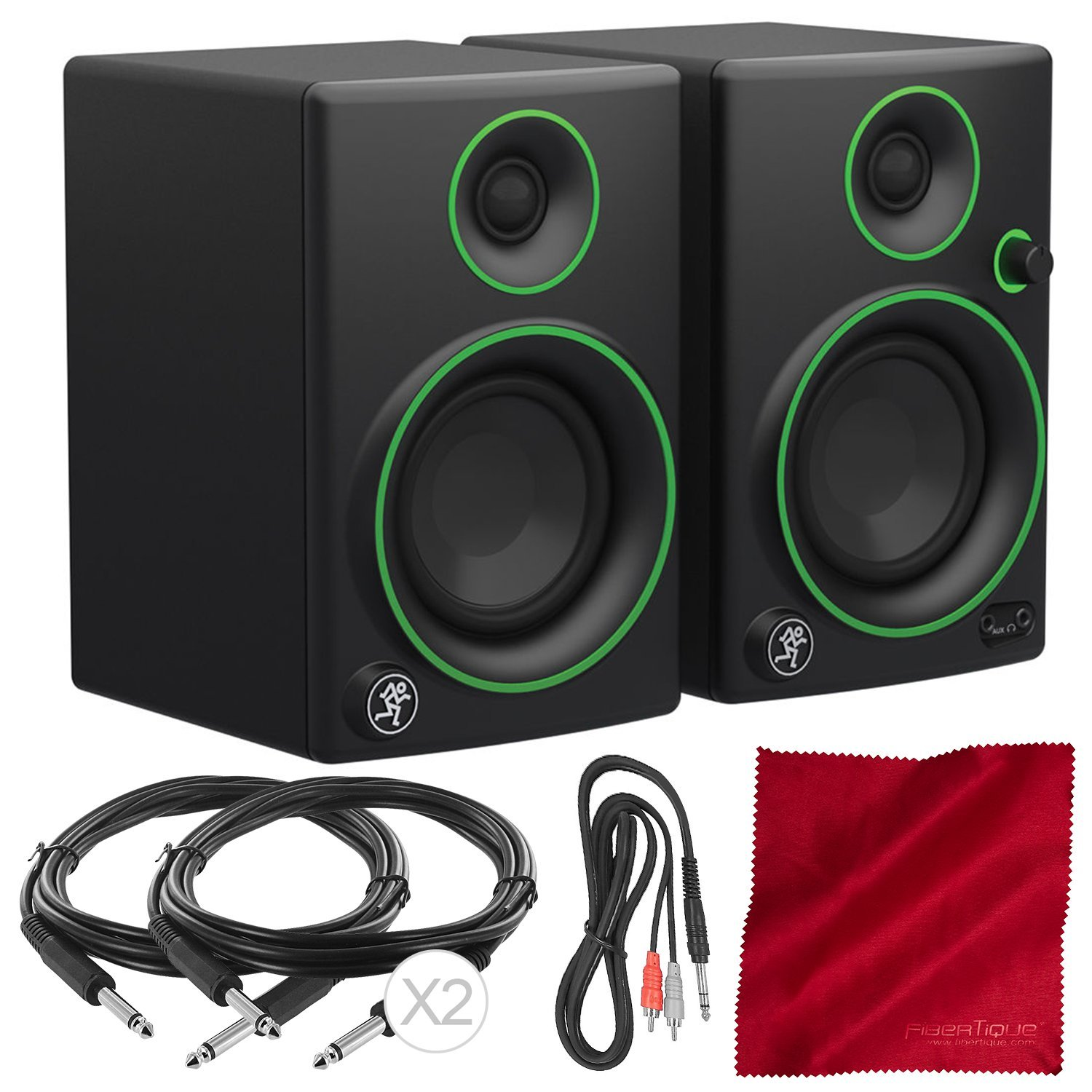 Mackie CR Series CR3-3'' Creative Reference Multimedia Monitor Pair Bundle with 3X Cables and Fibertique Cloth