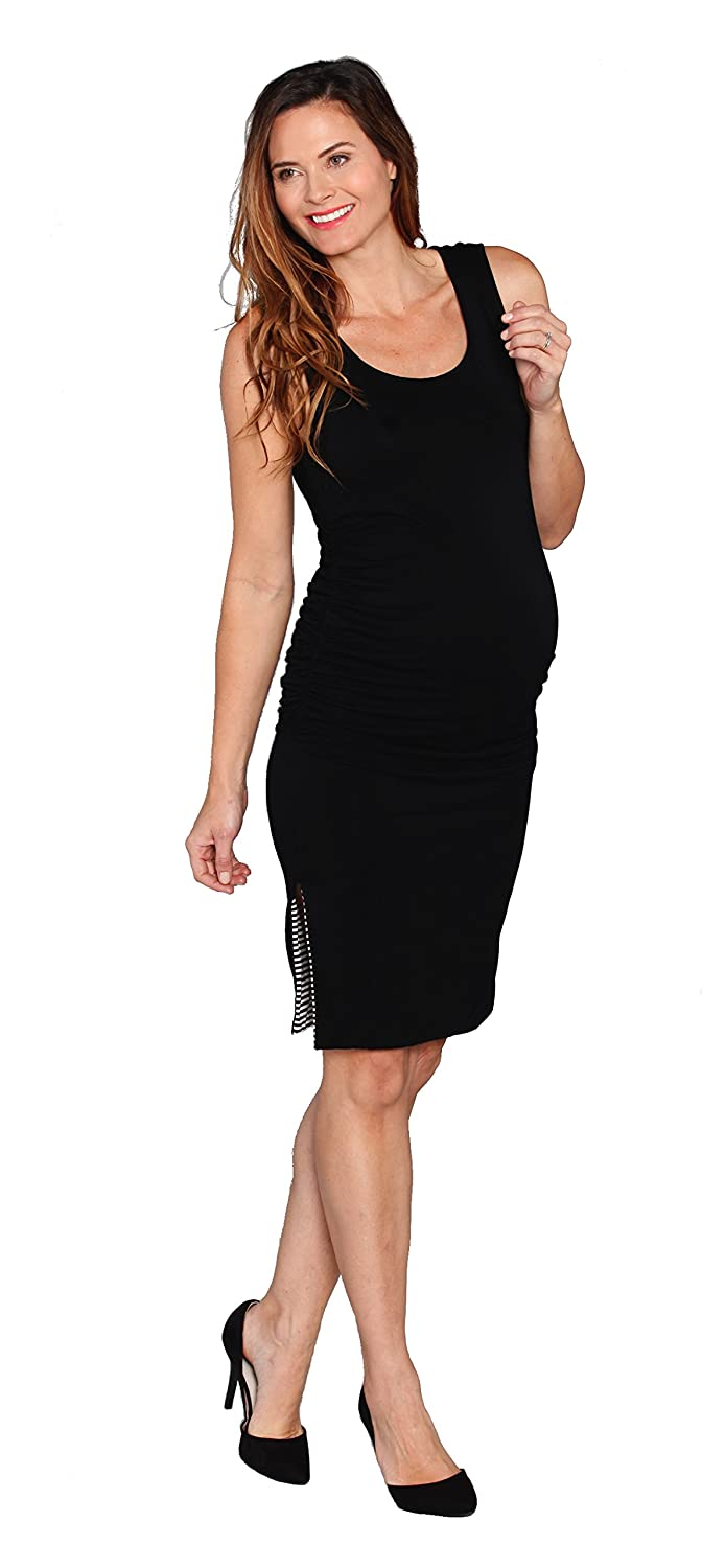 c871810058e66 Angel Maternity Reversible Maternity Dress: Black Dress Stripe Dress Two  Fitted Maternity Dresses in ONE! at Amazon Women's Clothing store: