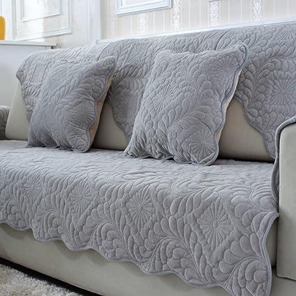 Amazon Com Wjx Likerr Plush Sofa Cover Fabric Grey Cotton Home Sofa