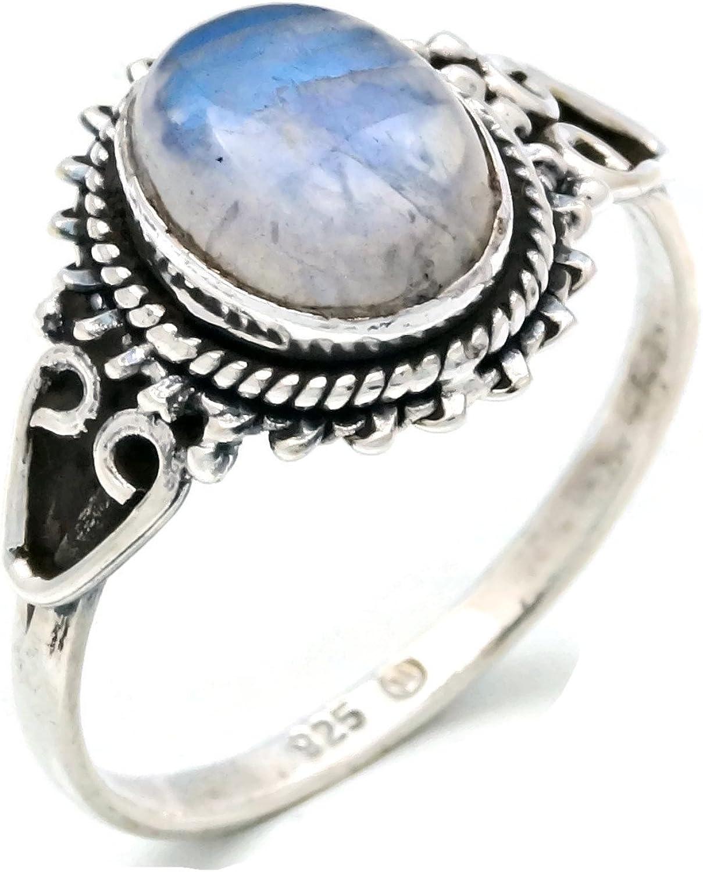 Anillo de plata de ley 925 Piedra de luna (No: MRI 117)