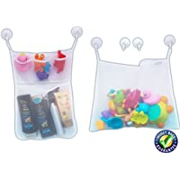 Bath Toy Organiser - 2 Premium Mesh Bags + 6 Super Strong Hooks - Multi-Use Organisers - Easy & Fun Toy Storage - No More Mould - Quality & Durable - for Kids, Toddlers & Babies - Exquisite Apparatus