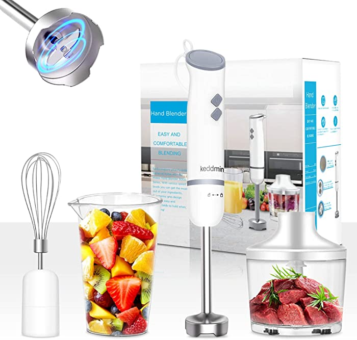 800W Hand Immersion Blender, 5-in-1 Hand Blender with 2 Mixing Speed+Turbo,304 Stainless Steel Blades Stick Blender,Mixing Cup Food Chopper,Whisk Attachment for Smoothies,Puree Baby Food,BPA-Free