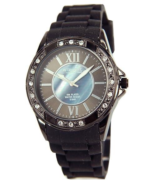 Q&Q DA17J502 - Reloj para mujeres, correa de silicona color negro