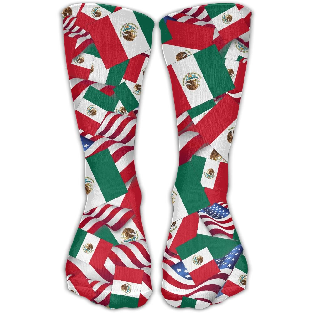 Mexico Flag With America Flag Casual Socks Crew Socks Crazy Socks Soft Breathable For Women Sports Athletic Running