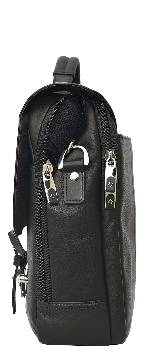 17576fcde Amazon.com: Samsonite Colombian Leather Flapover Case (Black/Chrome):  Office Products