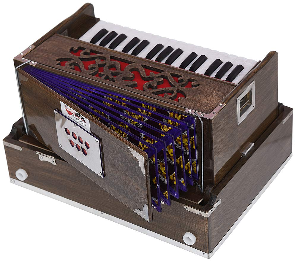OM Mini Traveler Harmonium- 2¾ Octave By Kaayna Musicals-Portable, Peti, Baja, 4 Stops (2 Drone), Two Set Reed- Bass/Male, Dark Color, Gig Bag, Tuning: 440Hz, Suitable for Yoga, Bhajan, Kirtan, Mantra by Kaayna Musicals