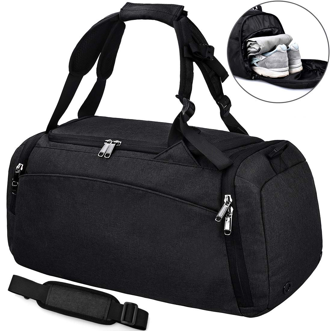 NEWHEY Sports Gym Duffel Bag with Shoe Compartment Waterproof Travel  Holdall Large Sports Bag for Men Women 40 L 88bd8be3b4