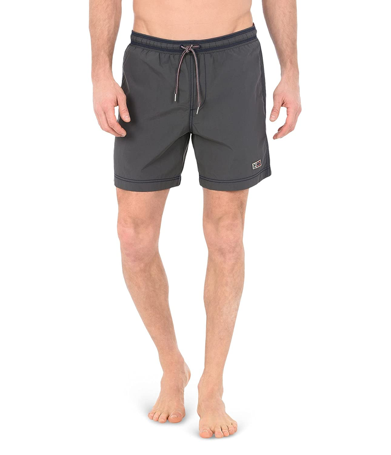 TALLA S. Napapijri Swimming Trunk IN Nylon Dark Grey, Hombre.