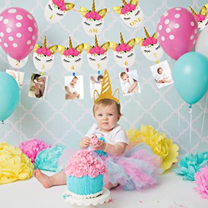JeVenis First Birthday Party Decoration Kit Sweet Heart One Happy Balloons Banner Perfect 1st