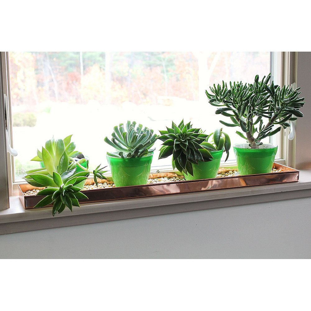 Achla Designs Long Copper Rectangular Windowsill Plant Tray, 29 In