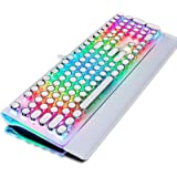 TISHLED Typewriter Style Mechanical Gaming Keyboard with True RGB Backlit, Collapsible Wrist Rest, 108-Key Anti-Ghosting Blue