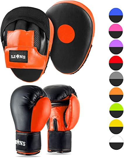 MAXSTRENGTH Curved Focus Pad and Boxing Gloves Set Hook And Jab Martial Arts Training Sparring Kickboxing Muay Thai Punching Gloves