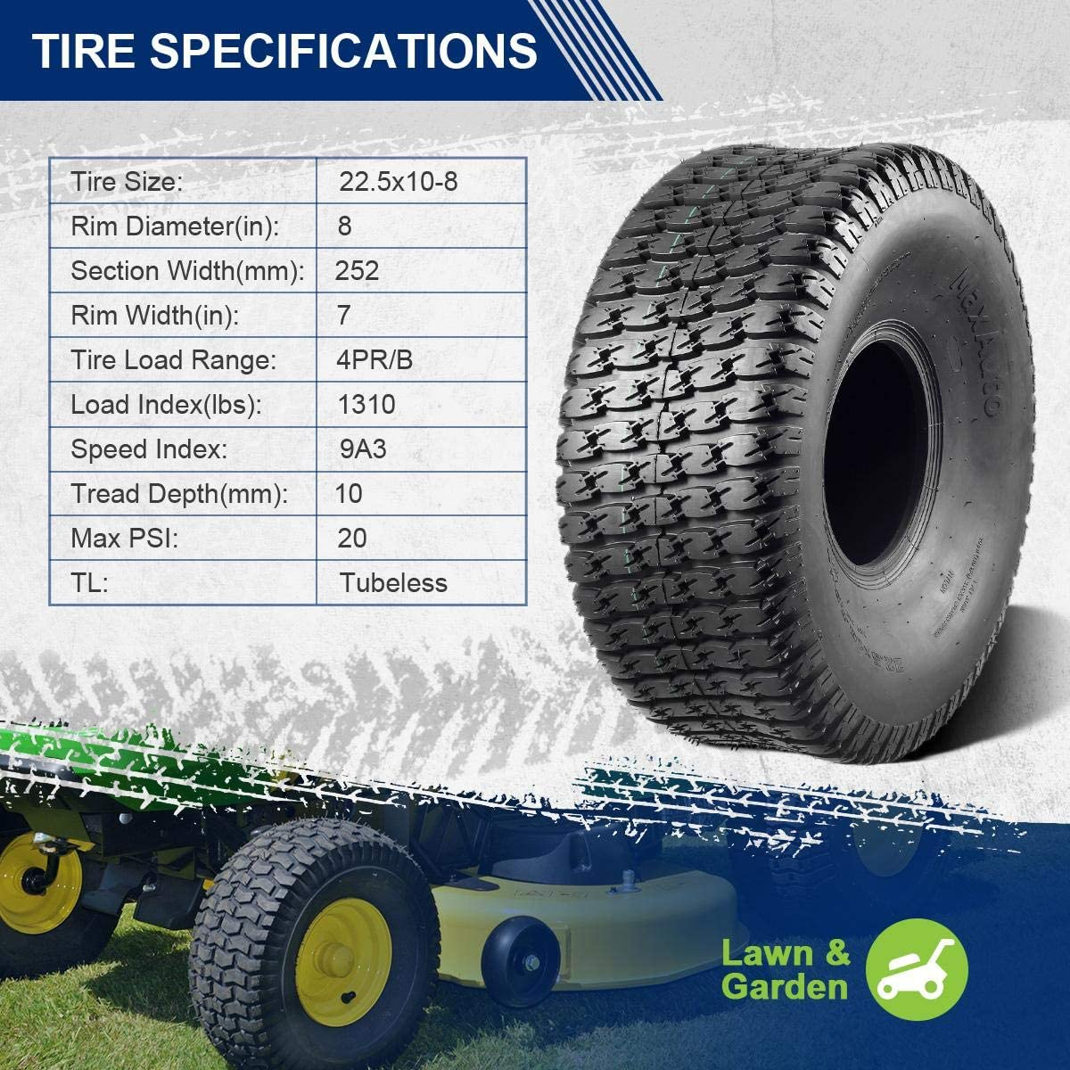 MaxAuto 2 Pcs Lawn Mower Garden Tire 22.5x10-8 for Turf Lawn Mower Tractor Riding 4 Ply