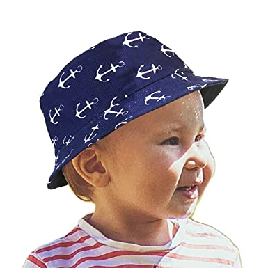 ecfb72d3429 TOSKAOK® Boys Kids Childrens Anchor Print 2 in 1 Reversible 100% Cotton Sun  Protection Summer Beach Holiday Bucket HAT  Amazon.co.uk  Clothing
