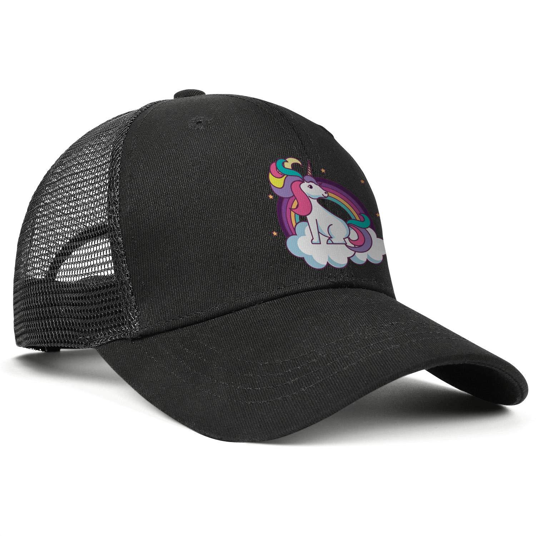 Cute Rainbow Unicorn on Cloud Sun Caps Adjustable Unisex Mesh Cap Duck Tongue Caps Beautiful Hat