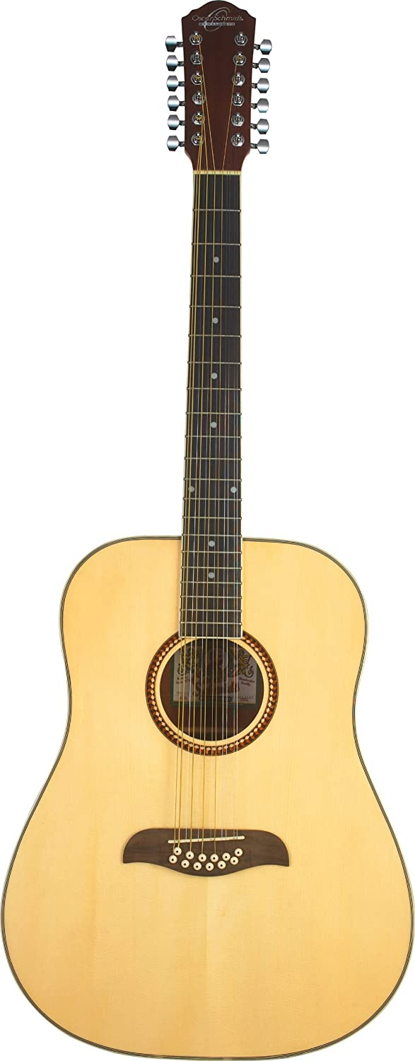 Oscar Schmidt OD312 Natural 12-String Dreadnought Guitar- Natural featuring Handcrafted quality. Rosewood fingerboard & bridge. Fully adjustable truss rod and Chrome die cast tuners