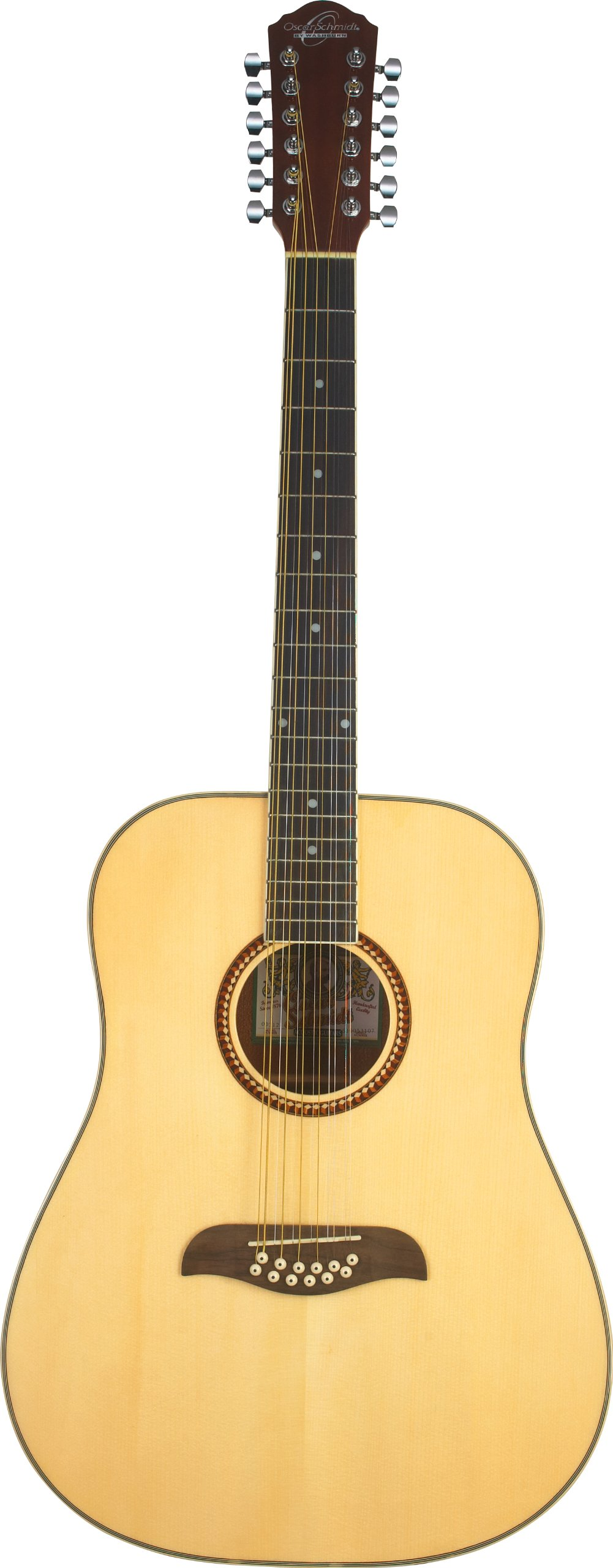 Oscar Schmidt OD312 Natural 12-String Dreadnought Guitar- Natural featuring Handcrafted quality.Rosewood fingerboard & bridge.Fully adjustable truss rod and Chrome die cast tuners by Oscar Schmidt