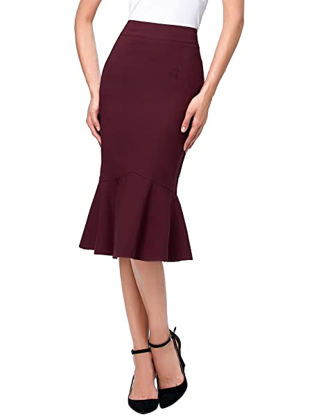 b54c11557534a Kate Kasin Women's OL Casual Mermaid Hips-Wrapped Pencil Skirts