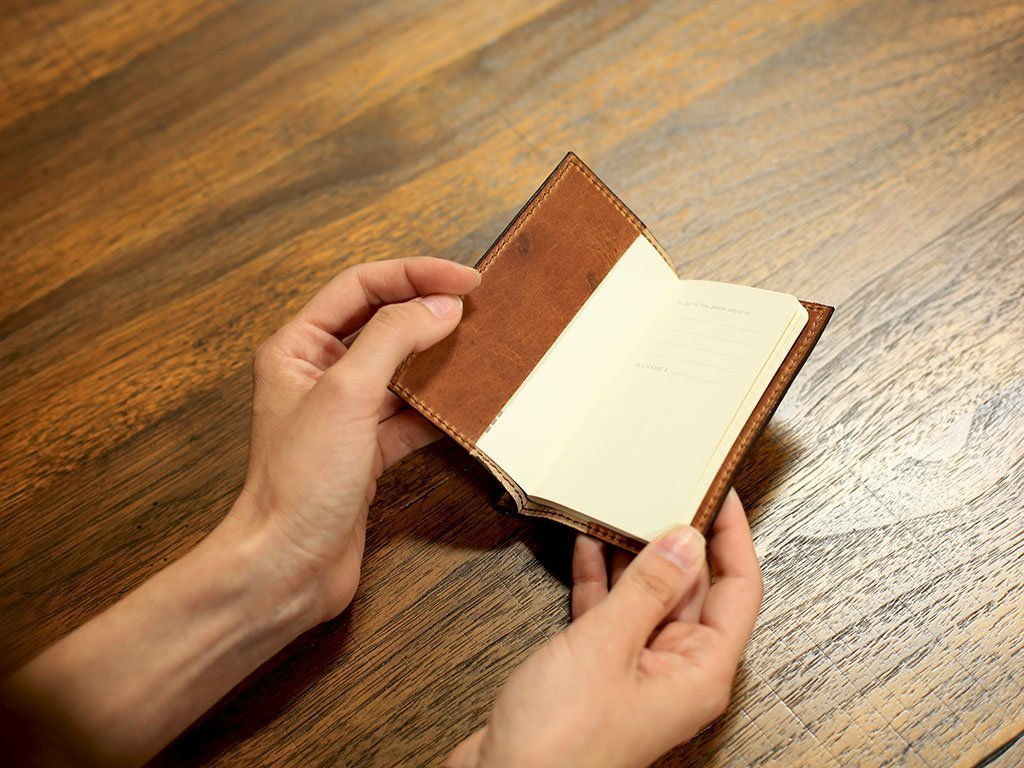 Natural Leather Mini Journal with Pen 3x4 in Horween Leather Cover Extra Small Moleskine Volant Notebook with Pen Holder Refillable Vintage Looking Journal for Men and Women by OleksynPrannyk (Image #3)