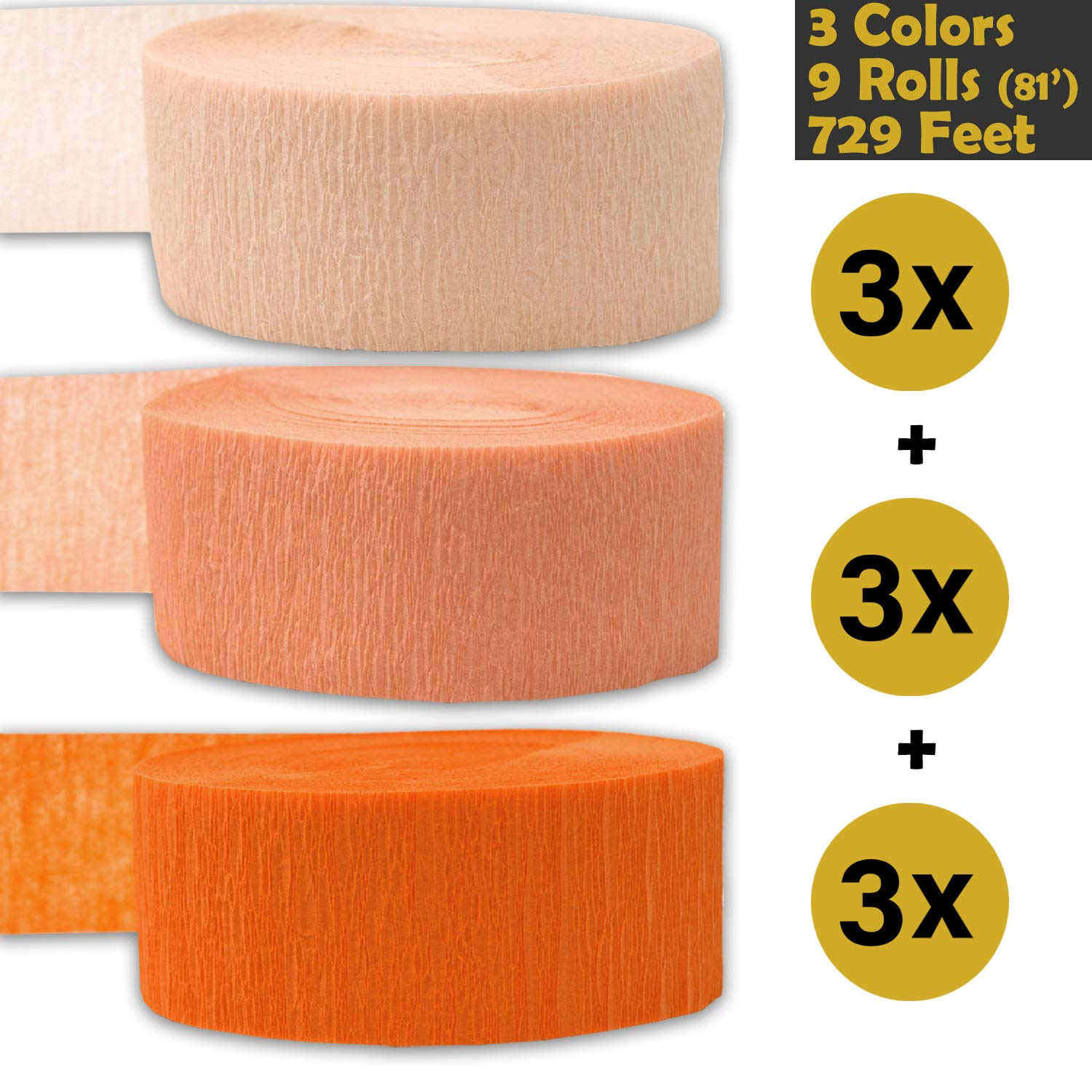 Flame Resistant 3 Colors 3 rolls per color, 81 foot each roll Whisper Pink Peach 739 ft Made in USA Bleed Resistant - For party Decorations and Crafts 243 per color Crepe Party Streamers 9 rolls Orange