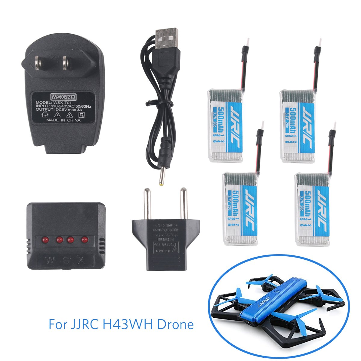 4pcs 1S 500mAh Battery JJRC H43WH with 1pc 4in1 Charger for JJRC H43WH H31 H37 H6D Hubsan X4 FPV H107C H107D H107L H107P H108 JXD392 JXD388 JXD385 UDI U816A RC Quadcopter