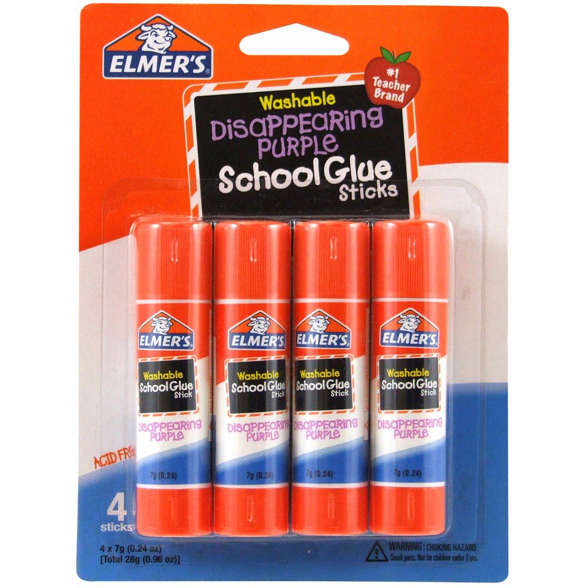 Elmer's Disappearing Purple School Glue Sticks, 0.24 oz Each, 4 Sticks per Pack (E543) Elmers