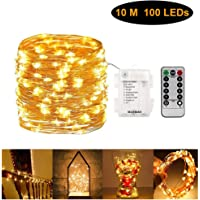 Fairy String Light Copper Wire Lighting Starry Lamp 100 LED with Remote Control Timer Battery Operated Warm White for Wedding Birthday Party Festival Home Decor