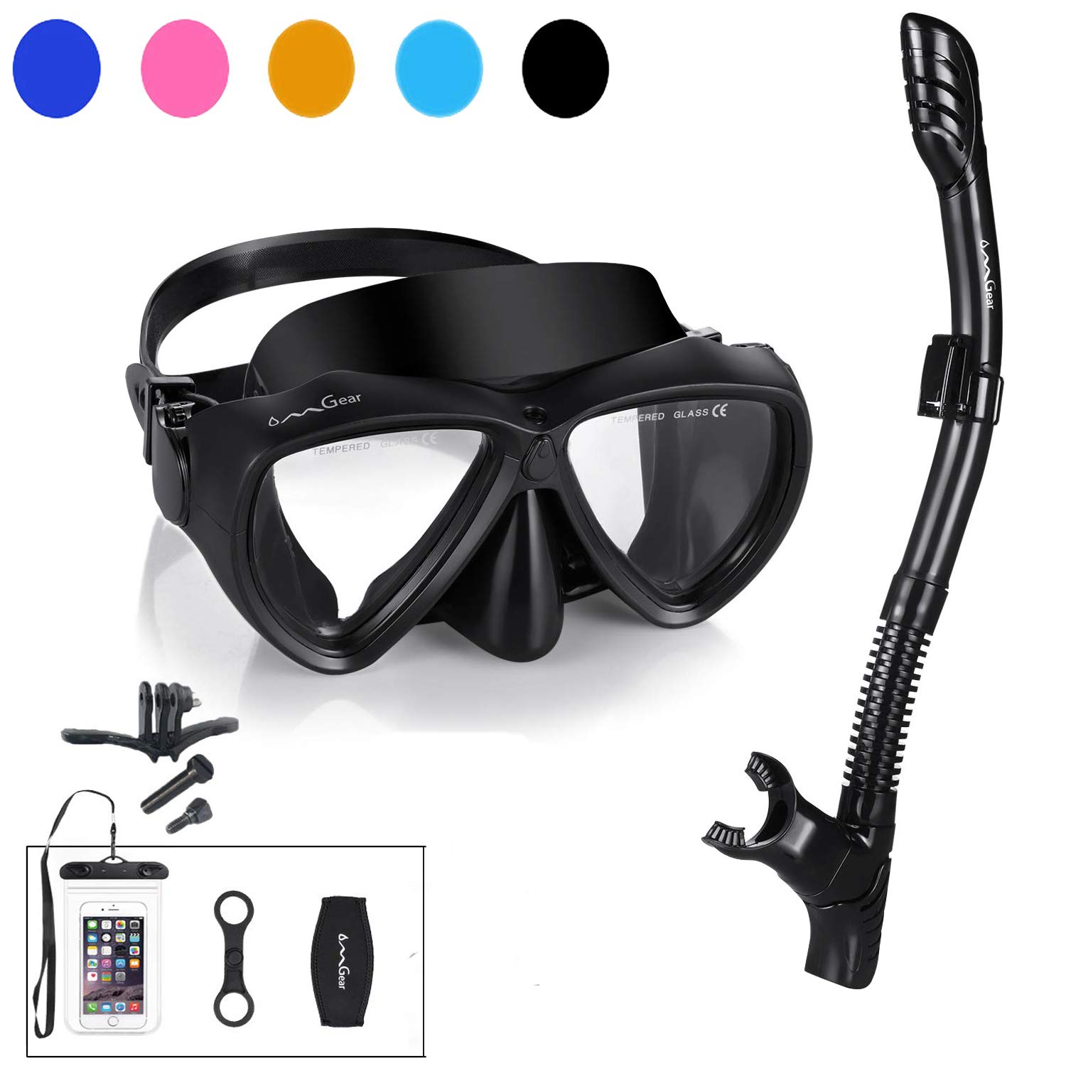 Snorkel Set Snorkeling Gear Package Diving Set Premium Silicone Dive Mask Snorkel Equipment Goggles Anti-fog Anti-leak Neoprene Mask Strap Scuba Diving Freediving Spearfishing Swimming (black-camera ) by OMGear