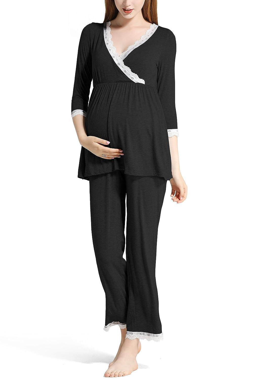 Molliya Schlafanzug für Damen, Umstandspyjama mit Spitze für Schwangerschaft und Stillzeit-Stillfunktion, Lang-Langarm Nachtwäsche Lang-Langarm Nachtwäsche