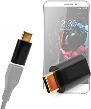 DURAGADGET Adaptador de Micro USB a USB C, bañado en Oro, para Smartphone UMI Hammer S, Iron Pro, Plus E, Super/Ulefone Future/Vernee Apollo Lite 4G LTE: Amazon.es: Electrónica