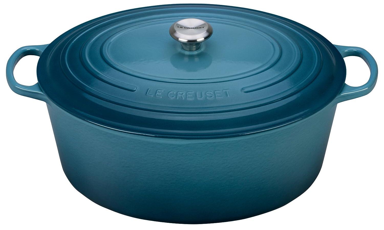 Le Creuset Signature Enameled Cast-Iron Oval French (Dutch) Oven, 15-1/2-Quart, Marine