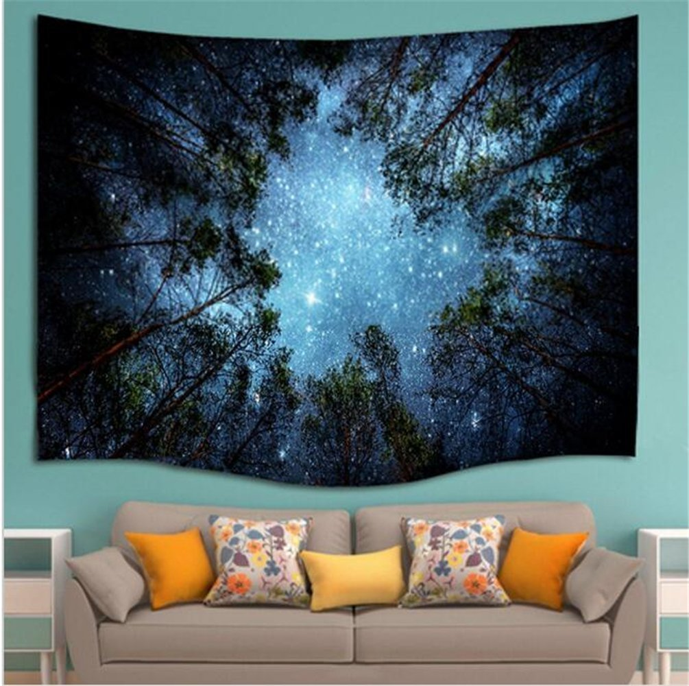 Forest Starry Tapestry Wall Tapestry Wall Hanging Galaxy Tapestry Hippie Milky Way Tapestry Sky Tapestry Tree Tapestry Night Sky Tapestry Mandala Bohemian Tapestry for  Bedroom Dorm Decor by Sunm boutique (Image #3)
