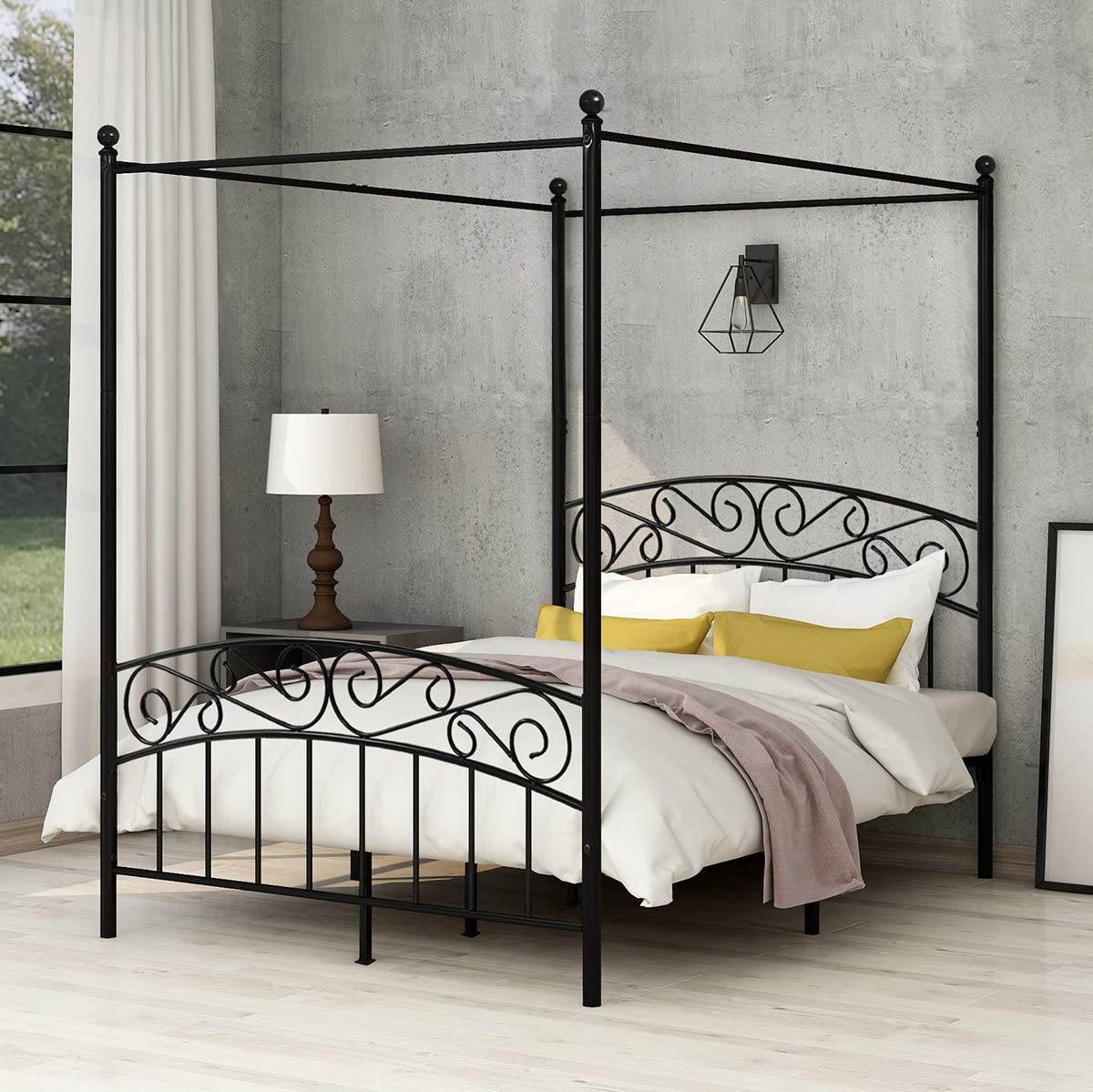 AUFANK Canopy Bed with Sturday Metal Bed Frame No Box Spring Needed Mattress Foundation Black Full Size