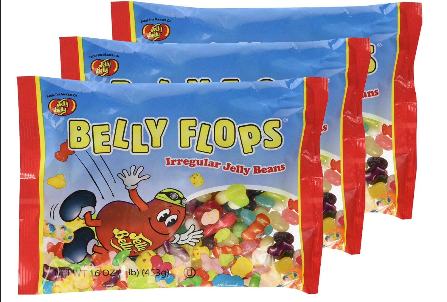 Jelly Belly, Belly Flops (1 Pound Bags) 3 Pack, 16 Ounces