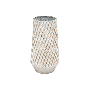 Art Deco Home - Jarron Decorativo Blanco Metalico 25 cm - 2027