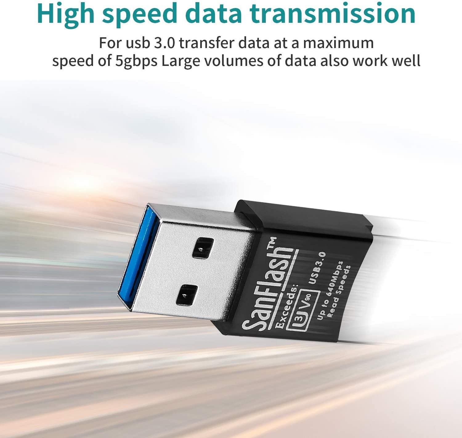 SanFlash PRO USB 3.0 Card Reader Works for Sony Xperia Z4v Adapter to Directly Read at 5Gbps Your MicroSDHC MicroSDXC Cards