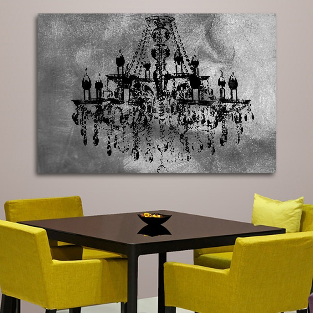 wall silver stretched dp decorpiece over chic posters amazon bars on wood deep com chandelier canvas art decoration prints
