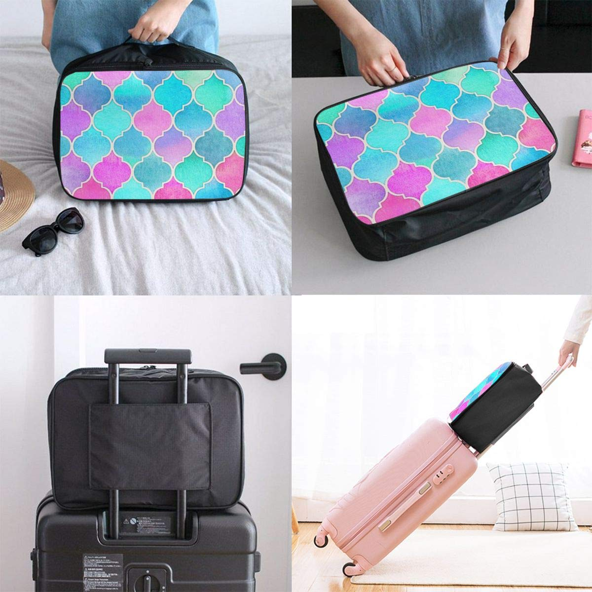 Travel Duffel Bag Waterproof Fashion Lightweight Large Capacity Portable Luggage Bag Colorful Mermaid Fish Scales