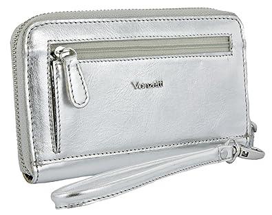 4af0ece4c0dcf Vanzetti Damen Geldbörse Portemonnaie aus Metallic Leder silber ...