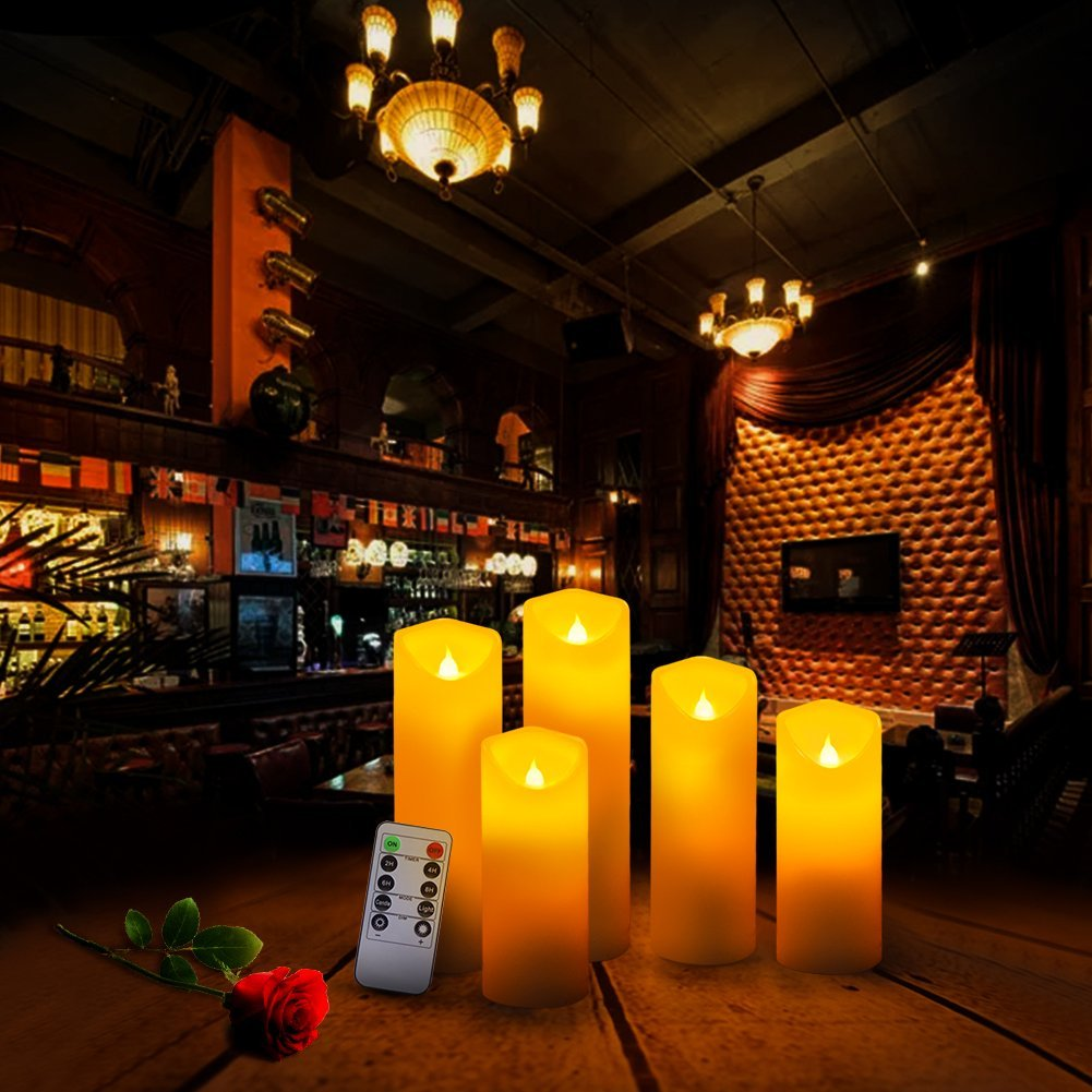 Across Flameless Flickering LED Candles 10-Key Remote Control Timer Pillar Real Wax Battery Operated Candles, Ivory Color, Set of 5(D 2'' X H 5'' 5.5'' 6'' 7'' 8'')