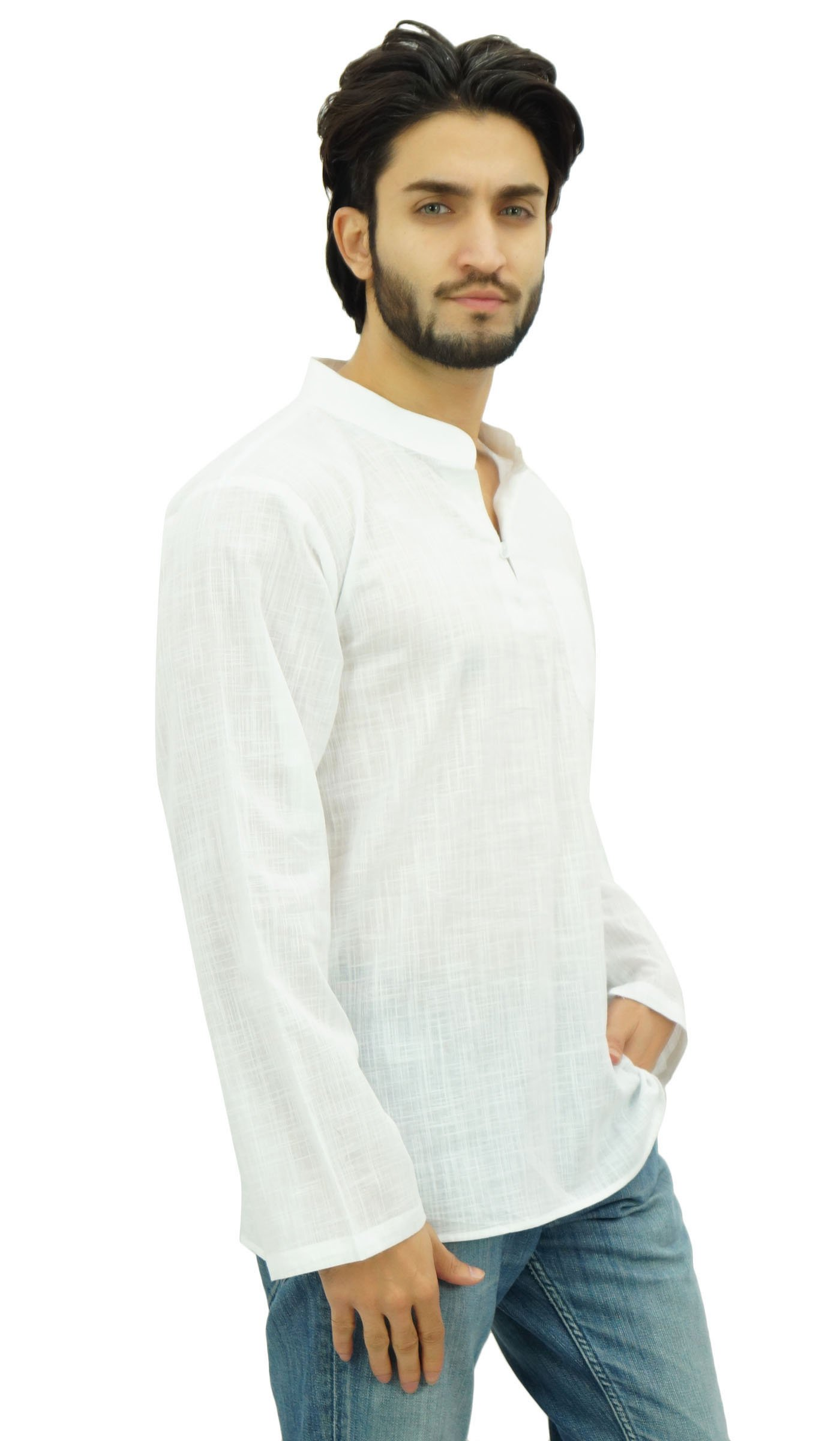 Atasi Men's Band Collar Short Kurta White Cotton Casual Tunic Shirt-Large by Atasi (Image #2)