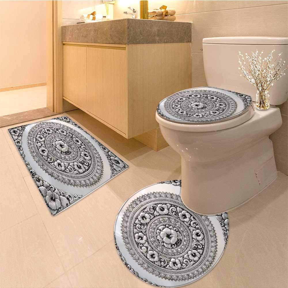 Miki Da Non Slip Bathroom Rugs silver lacquer show flower art balance global crafts thai artists place Absorbent Cover