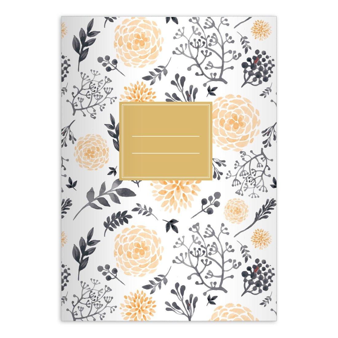 Kartenkaufrausch 2 personalisierte Bl/üten reiche Notizheft DIN A5 Schulhefte Schreibhefte mit Sommer Blumen in orange gr/ün Lineatur 6 blanko Heft