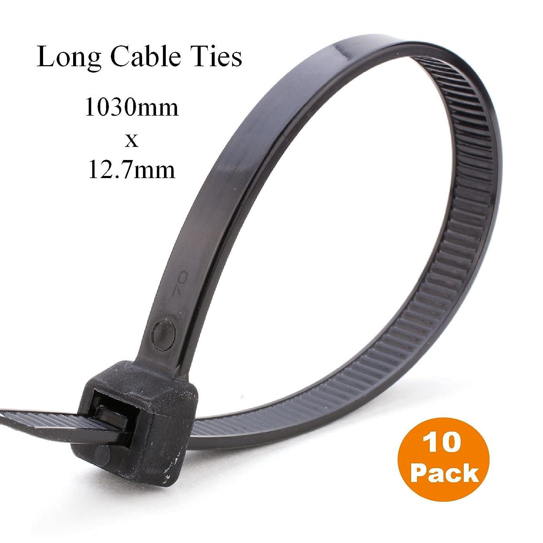 10 x 1 Metre Black Extra Long Cable Ties 1030mm x 12.7mm Heavy Duty Zip Tie Homesmart 4330226120