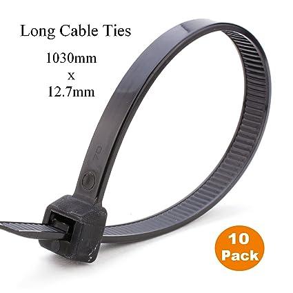 d4a37c64fb8e 10 x 1 Metre Black Extra Long Cable Ties 1030mm x 12.7mm Heavy Duty Zip Tie:  Amazon.co.uk: DIY & Tools