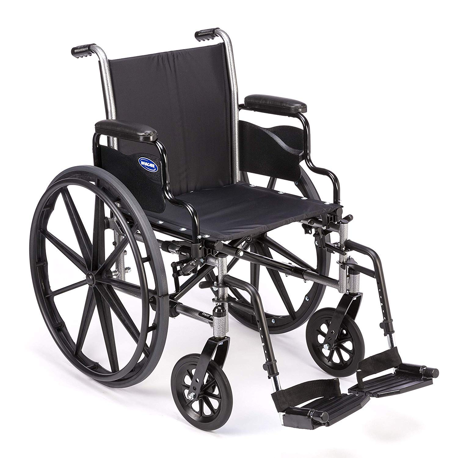 "Invacare Tracer SX5 Wheelchair, with Desk Length Arms and T93HCP Hemi Footrests with Heel Loops, 20"" Seat Width 71zuA7M5CzL"